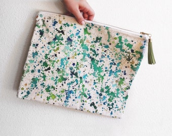 Art Clutch - Hand-Painted - One of a Kind- Painted Zipper Pouch - Artist's Bag - Green