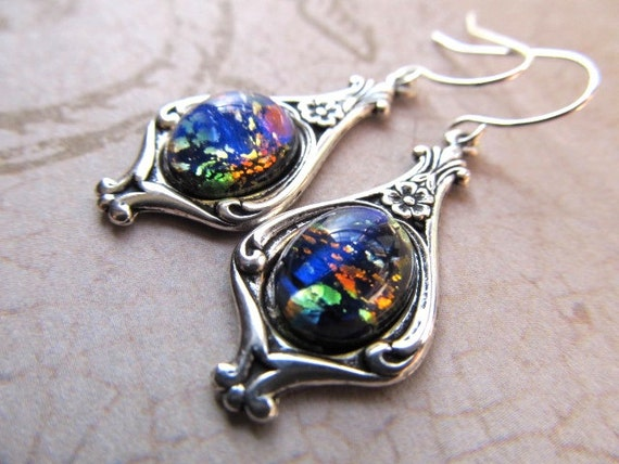 Blue earrings in silver settings - blue fire opal earrings silver