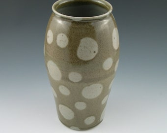 Vase with Green Polka Dots Handmade Pottery