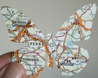 30 map printed paper die cut butterflies