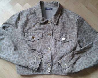 VINTAGE 1980s DENIM  Jacket, JEANS Animal print, Leopard print, size M/L, Brown tones, Animalier.