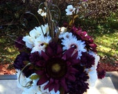 White Cream & Purple Plum Eggplant  Pumpkin Silk Flower Table Centerpiece Arrangement Autumn Fall Wedding Beautiful