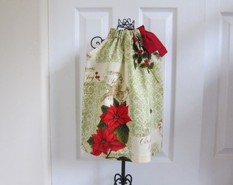 Pillowcase Dress - CHRISTMAS DRESS - Holiday Dress  - Toddler Girls  - 18  Months Dress -  Pointsettia - Ready to ship  By Emma Jane Company