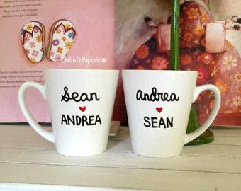 Personalized mug, Engagement Gift Mug, His and Hers mug, Hand painted, Couple mug, Bridal shower gift, Coffee mug, latte mug,