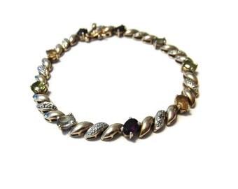 Vintage Gold Vermeil Diamond Multistone Bracelet 7.5 inches