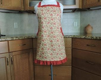 Red, cream, tan floral print full apron ruffle trim