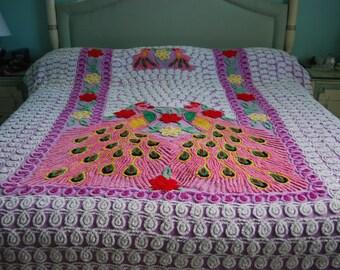 Luscious Lavender Double Peacock Vintage Chenille Bedspread