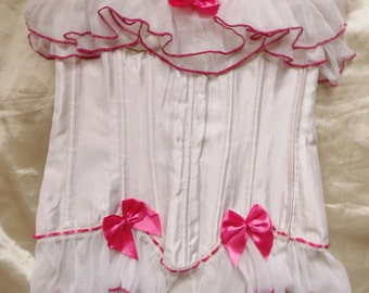 White Pink Lace Ruffle Trim Bows Corset Bustier Pinup Burlesque Rockabilly Lingerie Women's Size Small