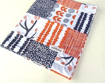 Bella Patchwork Blanket || Orange and Grey Baby Blanket || Trees and Leaves Blanket || Modern Patchwork Blanket with Grey Minky