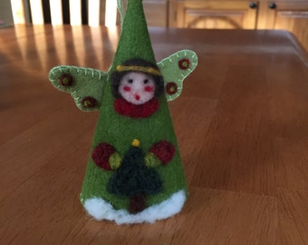 Angel Christmas Cone Ornament Needle Felted On Green Felt