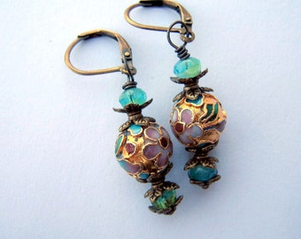 SALE Victorian Vintage Inspired Drop Earrings - Cloisonne Beads - Wedding - Gift - Jewelry -