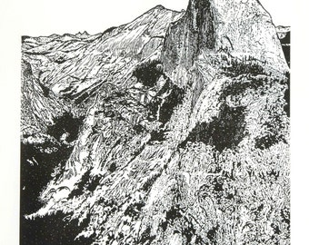 Half Dome from Glacier Point - Yosemite, Fine Art Linocut Print 24 x 18 Black & White, National Park with Cloud's Rest, Cock's Comb, Valley