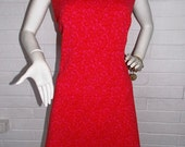 60's Red and Pink Drop Waist Brocade Style Shift Dress- Scooter Dress- Mod- Large