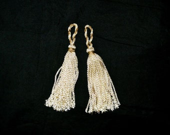 Tassel Pair Vintage in Ivory and Gold for Drapery or Clothing or Decor