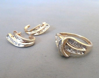 10k Gold Diamond Ring and Earrings Set Fine Jewelry Sets Holiday Gift for Her