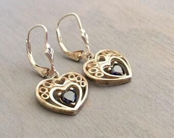 Sapphire Heart Earrings, Sterling Silver Gemstone Hearts, Vintage Gift for Her, Pierced Dangle Earrings
