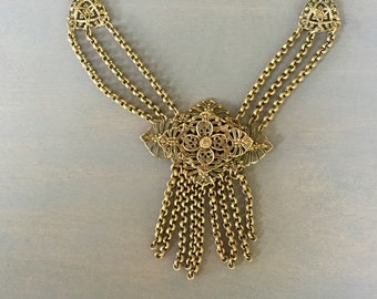 Victorian Revival Vintage Filigree Brass Festoon Dangle Necklace 1930s Jewelry