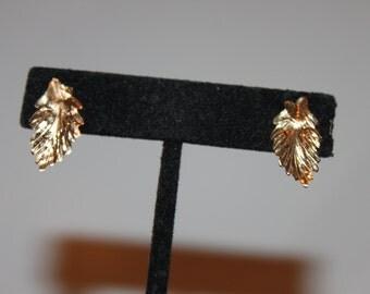 14K Yellow Gold Leaf Stud Earrings, Fall
