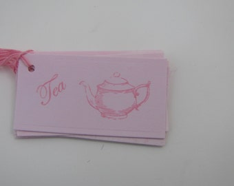 Pink on Pink Small Tea Teapot Tags set of 25 Tea Party Tea Time Bridal Shower Baby Shower