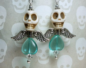 Dia de los Muertos Earrings - White and Aqua Winged Skull Earrings