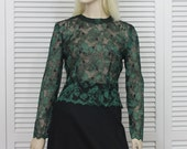Vintage Evening Top Dark Green Lace Blouse  Size Small/Medium