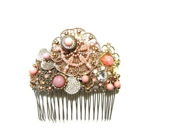 Pink Coral Bridal Comb Golden Beaded Victorian Style Wedding Prom Hair Jewelry