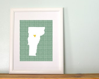 Vermont State Map Cross Hatch Background Personalized Art 8x10 Print