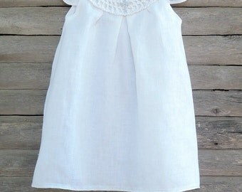 Christening white organic dress, Baptism dress, Bright white Baptism dress Knit Baby girl Dress  Baptism accessories