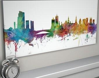 Leeds Skyline Canvas, Leeds Cityscape Canvas Art Print (992)