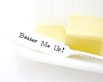Butter Me up! Stamped Butter Spreader. Holiday Table Decor, Hand Stamped silverware by Milk and Honey.