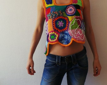 Crochet top - freeform patchwork top - hippie boho fashion - MADE TO ORDER
