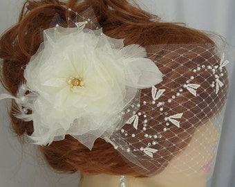 Ivory Veil Set, Detachable Organza Flower, 6 Inch Double Bandeau, Bridal Veil Set, REX15-3025