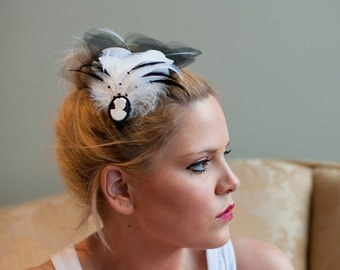Bridal Fascinator ~ Black & White Cameo Fasicnator