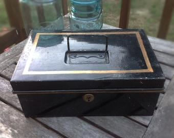 Antique Cash Box, Tin Box, Strong Box Black and Gold