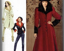 Steampunk Victorian Coat and Jacket Pattern: Fur Cuffs and Collars, Long Flared Coat Arkivestry Simplicity Patter 0877 Uncut Sizes 14-22