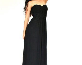 80's Black Evening Dress, Strapless Dress, Long Black Dress, Evening Gown