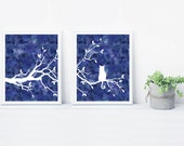 Cat Tree Wall Art Print Set of Two Prints Navy Blue Watercolor