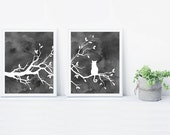 Cat Tree Wall Art Print Set of Two Prints - Watercolor Gray