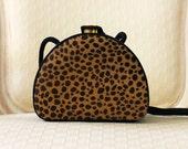 Vintage Bag Pony Hair Cheetah Print and Suede Hardcase Purse Martinez Valero Bag