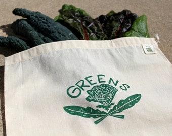 Produce Bag, Greens, Reusable Bag, Gift Bag, Linocut, Block Print
