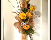 Wall Floral Spring Time Birch Burlap Door Swag Yellow Roses Home Decoration Non Wreath