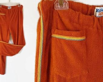 70s Leisure Terry Van Heusen Terrycloth Pants Hippie Boho Beach