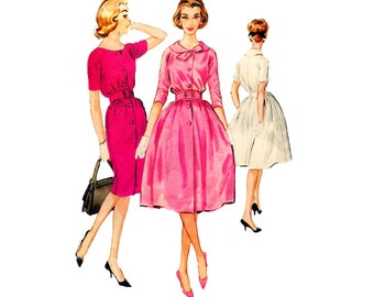 1950s Day Dress Sewing Pattern McCalls 5217 Full or Slim Skirt Size 12 Bust 32 Button Front Flat Collar