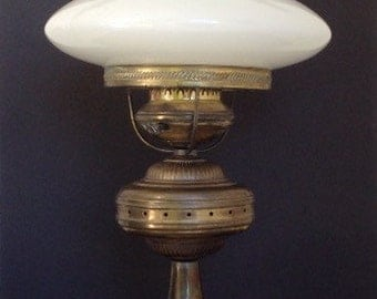 Vintage Hurricane Lamp with Milk Glass Shade