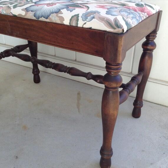 Vanity stool walnut dressing table stool boudoir stool bench for Boudoir stoel