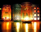 Hanging Lanterns, Set of Four, Hand Painted Moroccan Detailing on Jewel Toned Mason Glass Jars