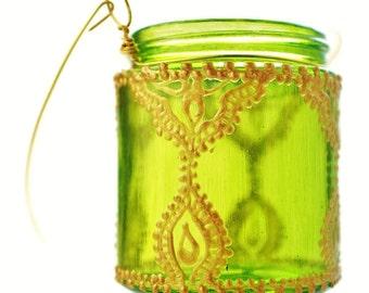 Mini Mason Jar Lantern, Hanging Candle Light, Boho Henna Decor, Eclectic Lantern for a Henna Gift or Boho Party Decor, Boho Henna Jar