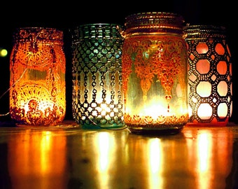 Hanging Lanterns, Set of Four, Hand Painted Moroccan Detailing on Jewel Toned Mason Glass Jars