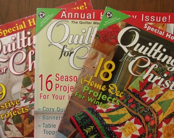 "Christmas Quilting Magazines-""Quilting for Christmas""-set of 3-2009-2010-2011-Holiday Issues-OOP-table toppers-runners-lap quilts and more"