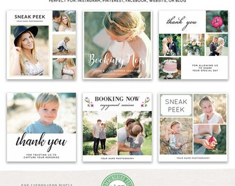 Sneak Peek, Booking Now, Thank You Social Media Templates: Instagram, Facebook, Blog Boards, Website, Collage- Set 2 - MKSP02